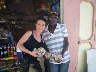 Erica buying spices, Grenada